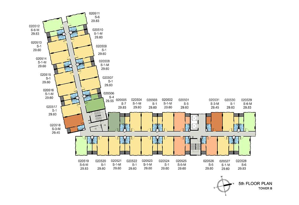 new-DCONDO-THAMMASAT2_B-5th-floor-plan