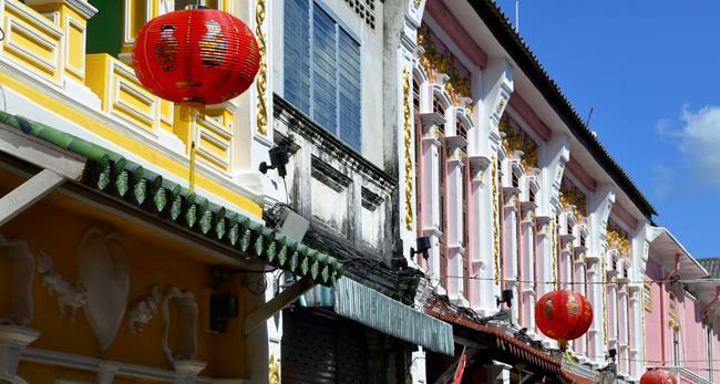 Multicolored sino-portuguese facades in Soi Rommani, or Soi Romanee, in Phuket Old Town, Thailand